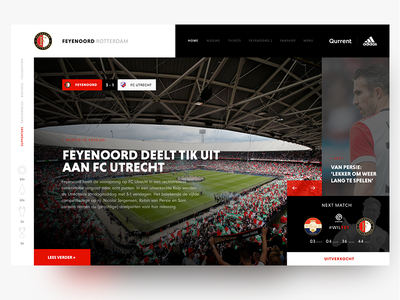 Redesign Feyenoord Football Club Homepage black red adidas van persie web website landing page dashboard ux ui news feyenoord sport soccer header football