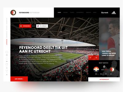 Redesign Feyenoord Football Club Homepage black red adidas van persie web website landing page dashboard ux ui news feyenoord sport soccer header football
