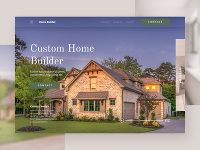 Custom Home Builder Landing Page identity layout landing page interaction design concept design typography branding website concept website web ux ui deisgn ui minimal homepage