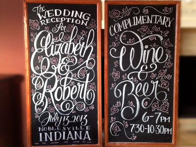Chalkboards wedding chalkboard lettering homemade handmade handlettering rose flower script reception wine beer