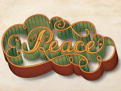 Peace lettering peace holiday christmas dimension script