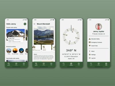 Hiking Mobile App outdoors hiking mobile figma ux minimal app ui design
