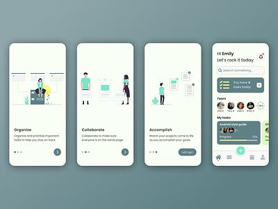 Onboarding Project Management App illustration dailyuichallenge dailyui mobile ux figma app minimal ui design