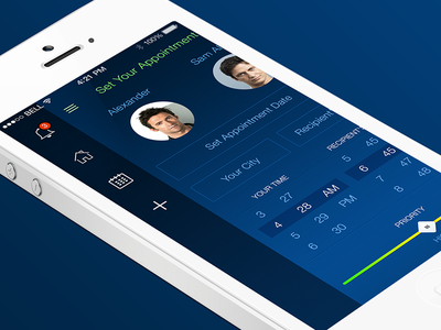 Sync Up App - Set Your Appointment iphone ios7 clean blue sidebar app profile calendar interaction design ui ux