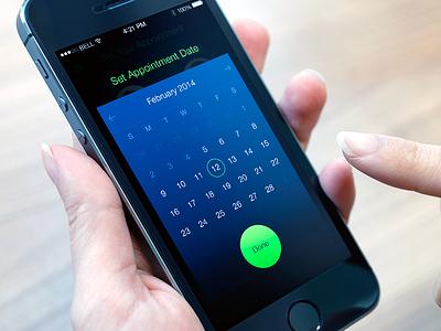 Sync Up Calendar iphone ios7 clean blue app calendar date green interaction design ui ux