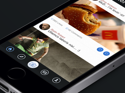 Spotter profile app blue clean ios7 iphone bottom-bar camera photo