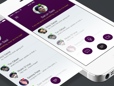 Yahoo Messenger - ReThink - Chat animation clean iphone ios7 bottom-bar menu message profile user bubble