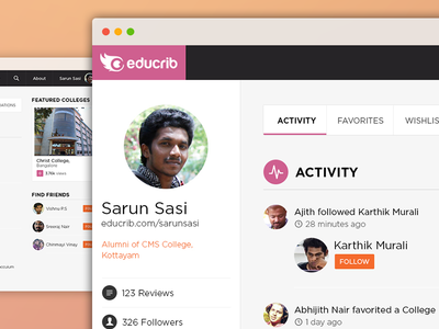 Educrib website responsive ui ux profile dashboard timeline