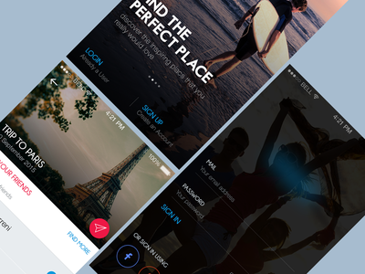 Social Tourism App app clean colorful ios icons dark tourism imagery login plan
