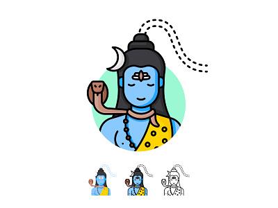 Lord Shiva Icon illustration indian goddess indian god god ux ui icons pack icons iconography icon