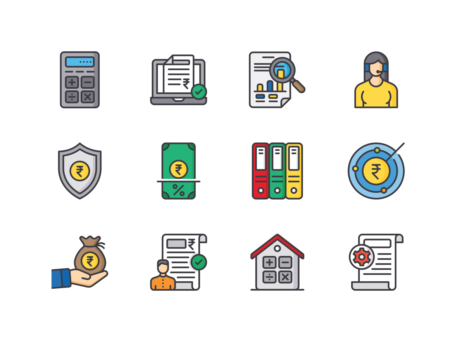 Tax Services Icon pack loan tax services tax rupee currency icons pack icons iconography icon