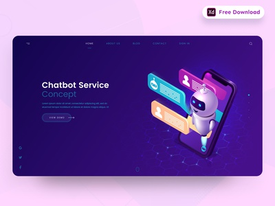 Daily UI Challenge 053/100 - Chatbot Landing page - Freebie chatbox chatbot chatbot landing page freebies webdesign free download uidesign adobe xd ankur tripathi dailyuichallenge dailyui dailychallenge daily 100 challenge 100uichallenge