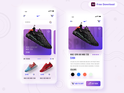 Daily UI Challenge 063/100 - Shoes Store App - (Freebie) product page product page design app redesign uiux nike app redesign shoes app adobe illustrator adobexd uidesigner uidesign app design free download freebie adobe xd ankur tripathi dailyuichallenge dailyui dailychallenge daily 100 challenge 100uichallenge
