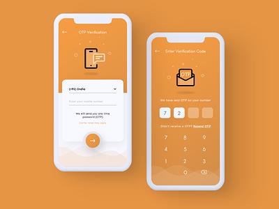 OTP Screens UI Design orange creative appdesign creative login ui  ux login ui otp screens ui login app design login ui design loginui app design otp app design otp ui design uidesign ankur tripathi adobe xd uiux ui one time password ui otp