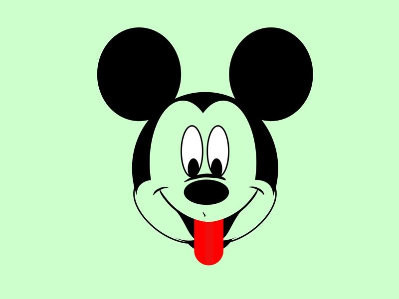 Micky Mouse minimal typography vector flat illustration design