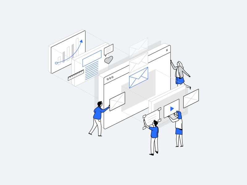 Employer Branding Campaign Builder 1 web automation startup marketing recruitment branding employer minimal design isometric illustration clean vector illustration