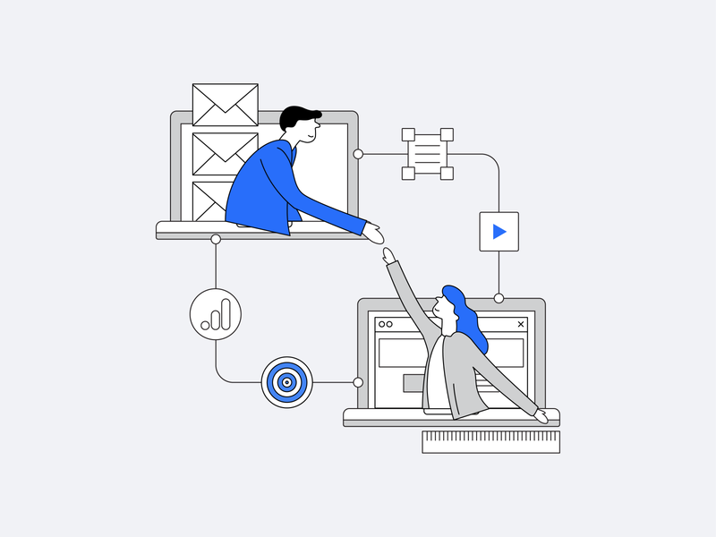 Employer Branding Campaign Builder 2 web recruitment marketing automation startup tool employer branding employer minimal design clean vector illustration