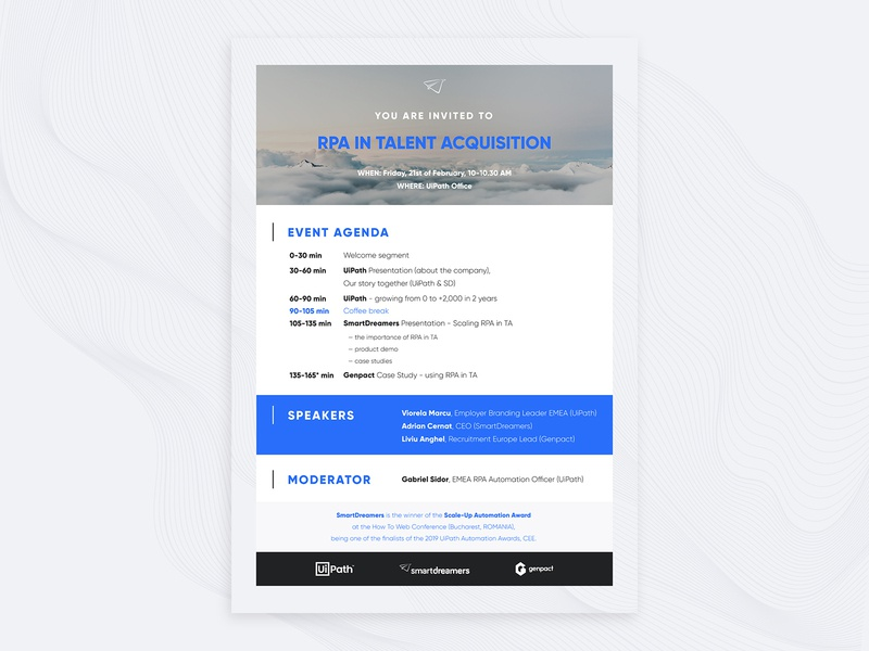 RPA in Talent Acquisition - Email invite insert acquisition talent automation startup marketing recruitment web design clean email design pdf invitation email illustration