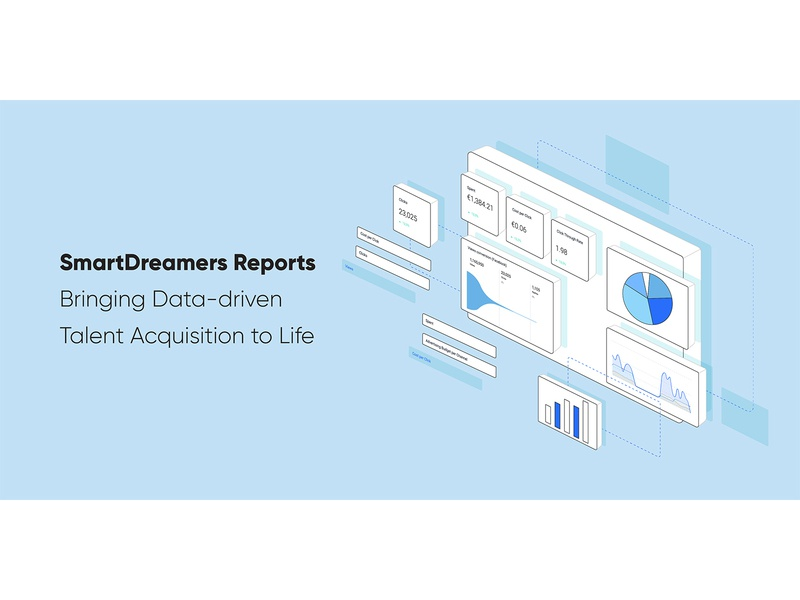 SD Reports: Bringing Data-driven Talent Acquisition to Life talent acquisition blog header blog post automation startup marketing recruitment web design vector clean illustration data visualization reports and data reports