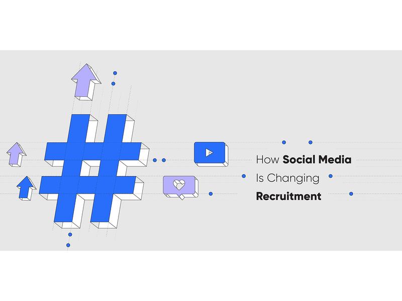 How Social Media Is Changing Recruitment blog header blog post minimal marketing startup automation social media isometric recruitment web design vector clean illustration