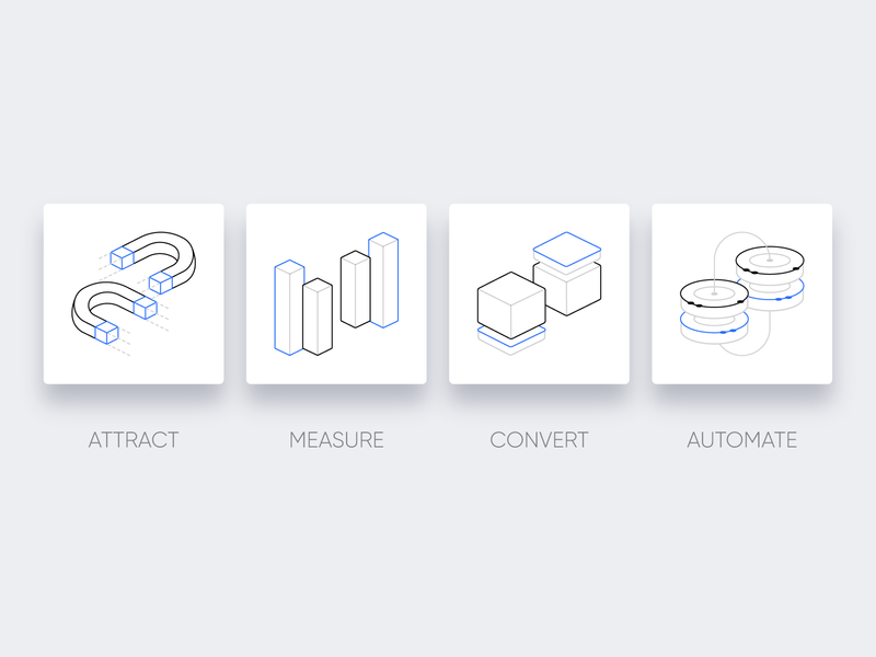 The Command Center for Revolutionary Talent Acquisition convert measure attract automation startup marketing recruitment icon set product iconography icon web design vector clean illustration