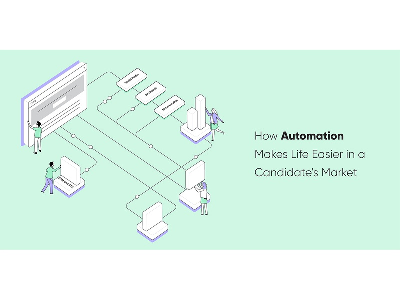 How Automation Makes Life Easier in a Candidate s Market blog header blog post minimal marketing startup automation market candidate isometric isometric illustration design vector clean illustration