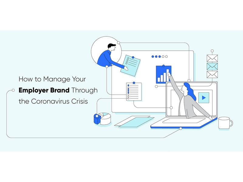 How to Manage Your Employer Brand Through the Coronavirus Crisis employer branding employer blog header blog post minimal automation startup marketing recruitment web design vector clean illustration covid-19 coronavirus