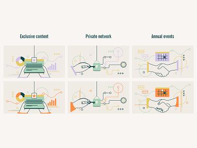 Features illustration set minimal features private community investors web design illustration vector clean