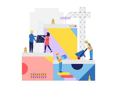 L&K Beratung Hero Illustration homepage industry website lineart construction people illustration branding recruitment web design illustration vector clean
