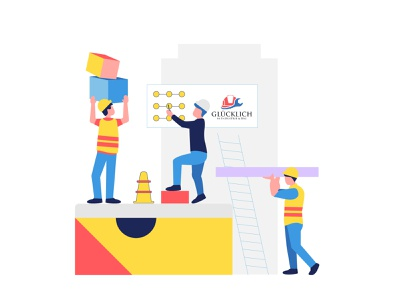 For Applicants - Illustration category homepage agency person industry construction characters linework recruitment web design illustration vector clean