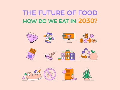 The Future Of Food - How Do We Eat in 2030? - Illustrations ppt colorful nutrition habits people food line art presentation design illustration vector clean
