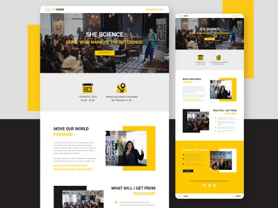 She Science - Conference Landing page template page page design event conference landing page webdesign ui startup marketing recruitment web design clean