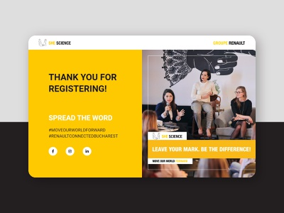 She Science - Conference Thank you page template page page layout thank you event conference web design ui marketing startup recruitment web design clean