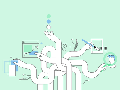 Machine Learning: 5 Uses for AI in HR banner memphis blog header recruitment blog post marketing clean automation startup minimal vector flat design illustration ai machine learning
