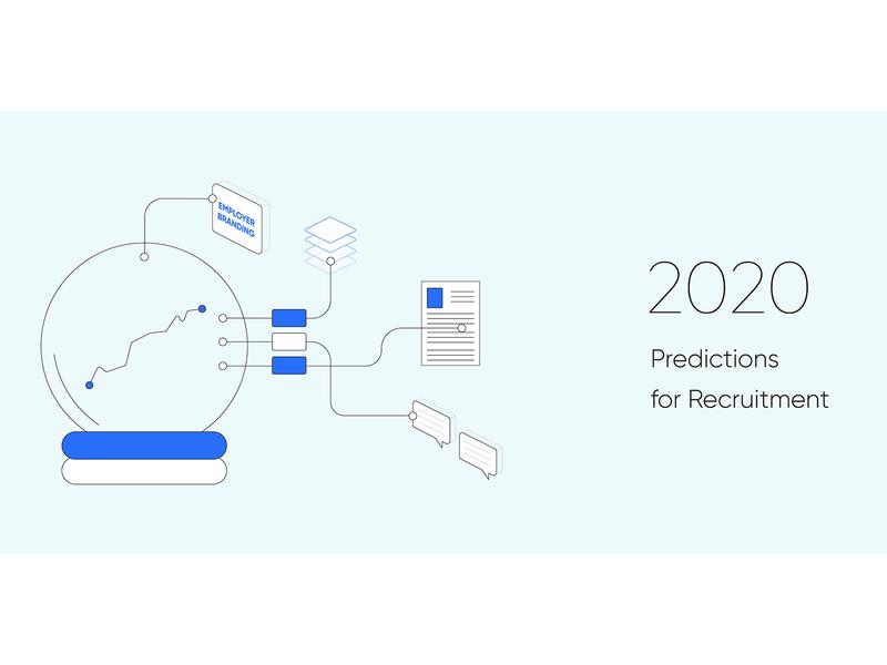 5 Predictions for Recruitment in 2020 blog 2020 predictions blog header blog post marketing automation startup recruitment minimal web design clean vector illustration