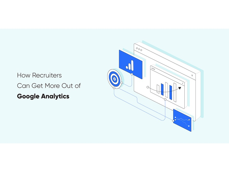 How Recruiters Can Get More Out of Google Analytics isometric illustration minimal google analytics blog header blog post startup automation marketing recruitment isometric clean vector illustration
