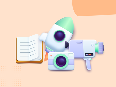 Illustrations Part.2 neumorphism 3d figma illustrations icon 8mm videocamera camera journal rocket vector design illustration ui