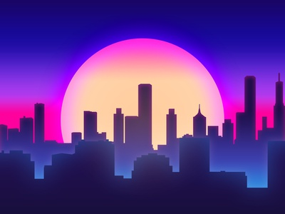 Retro Vibes city synthwave retrowave retro photoshop minimal inspiration illustration gradient graphic design flat digital design daily creative color clean blue artwork art