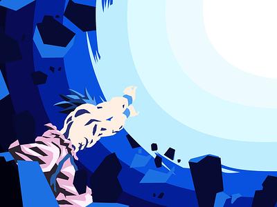 The earth-shattering Kamehameha illustration flat design earth anime kamehameha dragon ball z dragon ball flat orange super saiyan 3 super saiyan son goku goku digital art art minimalist vector