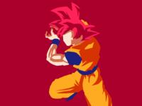 Goku in super saiyan god form