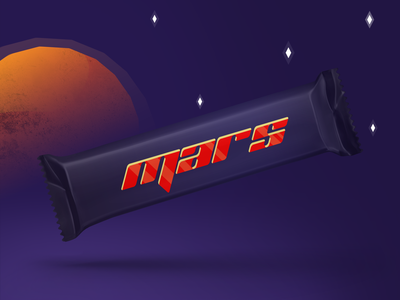 Mars bar package redesigned | Weekly Warm-ups design creative color vector clean artwork art print product design illustration packaging identity logo design logo branding candy bar candy mars bar mars dribbbleweeklywarmup