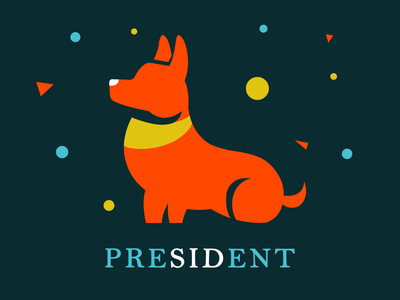 Sid for President | Weekly Warm-ups slogan campaign corgi dog flat drawing minimal vector print logo illustration identity dribbbleweeklywarmup design creative color clean chrome artwork art