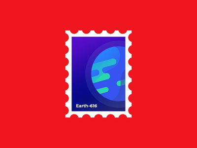 Earth-616 | Weekly Warm-ups postage stamp earth marvel flat drawing minimal vector print logo illustration identity dribbbleweeklywarmup design creative color clean chrome artwork art