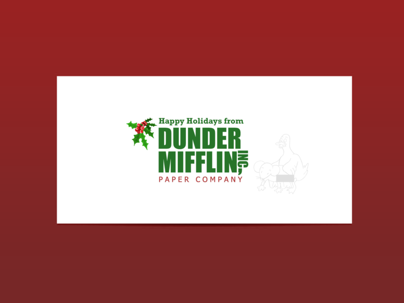 Dunder Mifflin Holiday Card | Weekly Warm-ups christmas greeting card holiday card card holiday the office flat drawing minimal vector print logo illustration identity dribbbleweeklywarmup design creative color artwork art