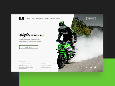 Motorbike Kawasaki Ninja ZX-10R lettering flat minimal web website ux ui typography design