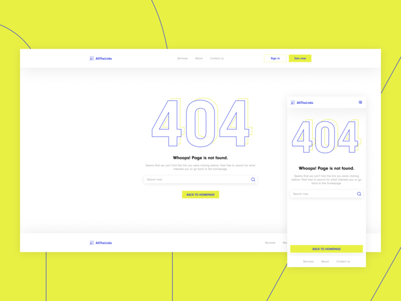 404 Page Exploration for a Dribbble Weekly Warmup