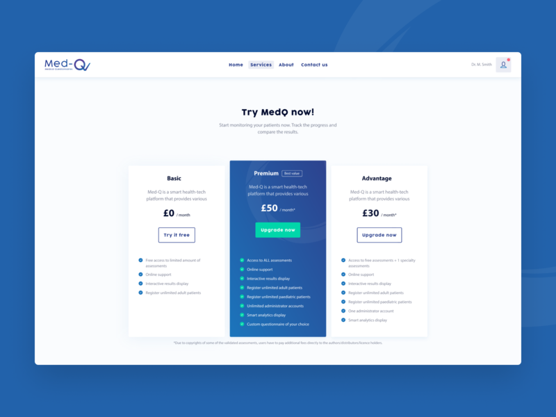 Med-Q Pricing Page