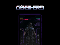 Logo and Game's Interface for a Cyberhero Mobile Game glitch modern ui future blade runner neon logo interface game cyberpunk