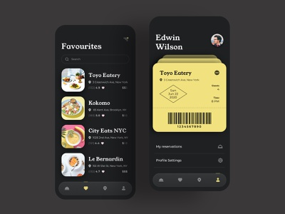 Table Booking App 2 favorites profile menu cafe restaurant place delicious ticket eat nutrition meal food