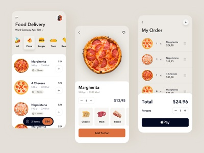 Food Delivery App shop cart cooking delivery pizza food